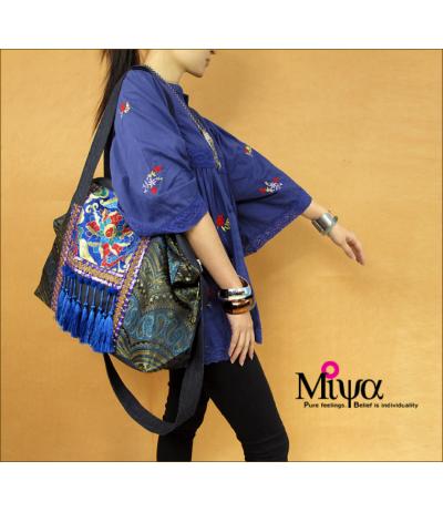 Sac bandoulière toile et tissu bleu brodé Pompons Ethnique Création Miya