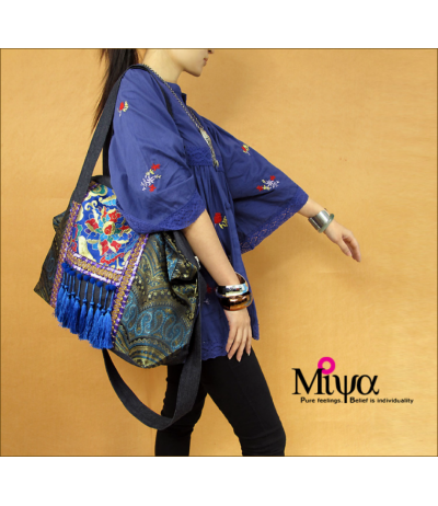 Wonderful embroidery fabric shoulder bag blue tassels & Ethnic Creation Miya