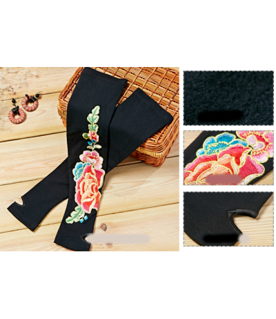Beautiful long gloves mittens embroidered flowers Ethnic