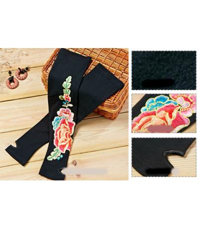 Magnifiques longs gants mitaines noirs brodés de fleurs multicolores Ethnique