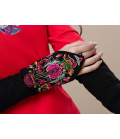 Ethnic mittens embroidered flowers Beads Creation Les Fleurs du Vent