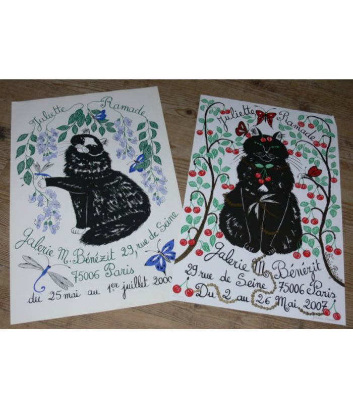 2 Posters signed Juliette Ramade Original Silk Screen 2000 & 2007