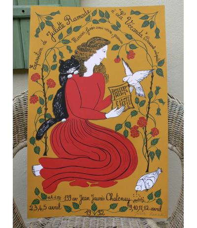 Original poster printed silk sreen signed Juliette Ramade 1992
