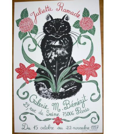 Affiche originale chat signée Paris 1997