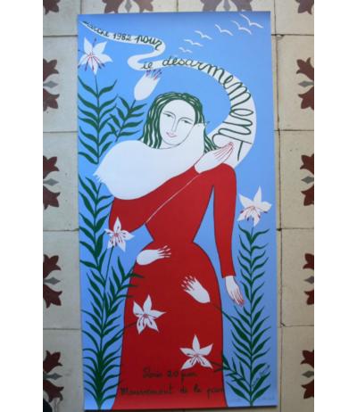 """Affiche en sérigraphie signée """"Marche Paris 1982"""""""