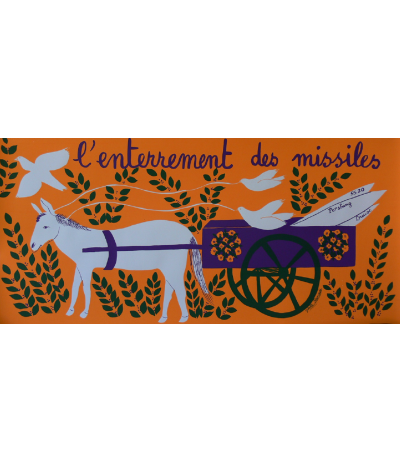 """Original poster """"L'enterrement des missiles"""" signed Juliette Ramade"""