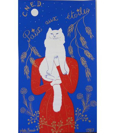 """Superbe affiche """"Paix aux étoiles"""" sérigraphie signée de Juliette Ramade 1987"""