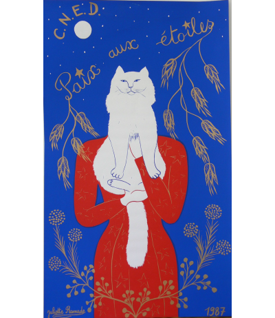 "Original Silk screen ""Paix aux étoiles"" signed Juliette Ramade 1987"
