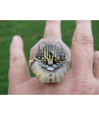 Bague réglable collection Lili peinte sur cristal de Juliette Ramade®