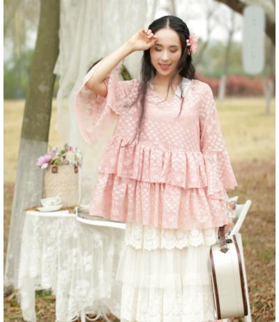 Magnifique tunique vieux rose en dentelle avec top soie création Rongyanyifang Mori girls Japon TU