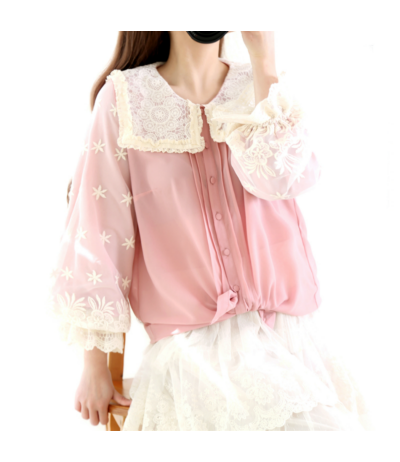Beautiful silk pink blouse covered with lace Rongyanyifang Creation Mori girls Japan Free size