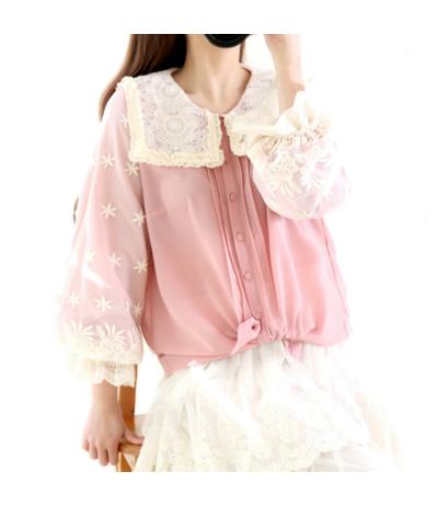 Magnifique blouse en soie rose poudré recouverte de dentelle création Rongyanyifang Mori girls Japon TU