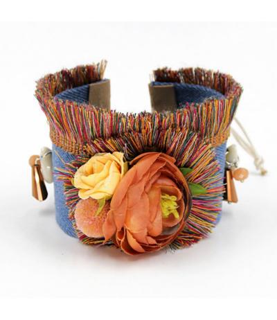 Magnifique manchette / bracelet en jeans fleurs et coquillage Réglable