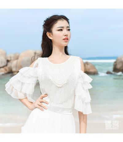 Magnifique tunique t-shirt blanc Mousseline et perles Création Boshow T36/38