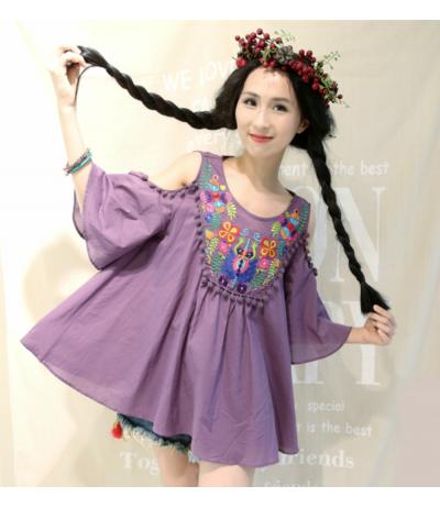 Beautiful purple tunic embroidered with flowers Rongyanyifang Creation Mori girls Japan Free size
