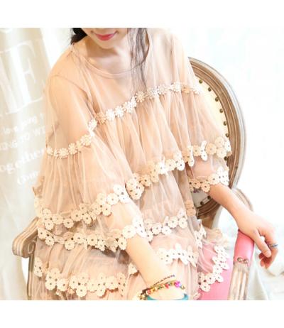 Beautiful beige tunic gaze with beautiful sleeves Rongyanyifang Creation Mori girls Japan Free size