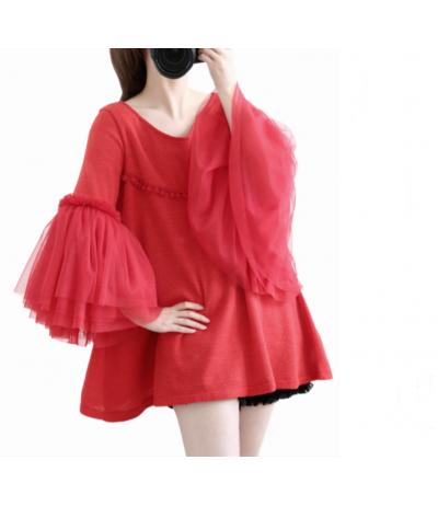 Beautiful red sweater with gauze Creation Rongyanyifang Mori girls Japan Free size