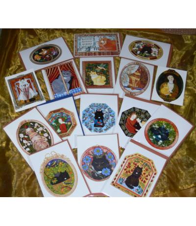 15 cartes double CHATS + 15 enveloppes