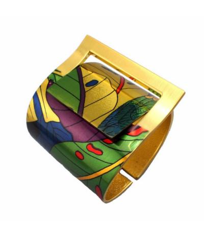 Magnifique bracelet / manchette en métal peint de feuilles Largeur de 5,5 à 7 cm