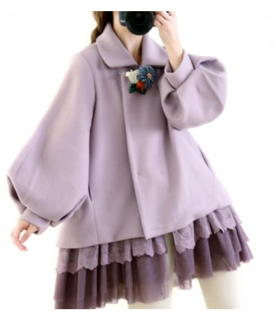 Magnifique veste violette Volants de dentelle Laine Doublé création Rongianiyifang Mori girls Japon TU