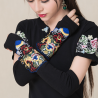 Gorgeous embroidered black mittens gloves length 39 cm