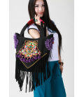 Bag Ethnic Embroidered fabric flower tassels and links Designer Guduo Folk Rock