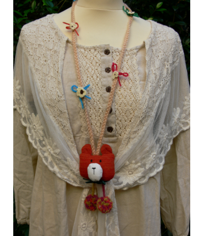 Beautiful wool bear necklace very funny and so cute Mori girls Japan