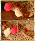 Doll and pompoms on a long braided necklace design Japan Mori girls