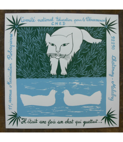 Original Silk screen Poster Cat signed Juliette Ramade