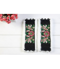beautiful black cuffs embroidered flowers with fur Ethnic
