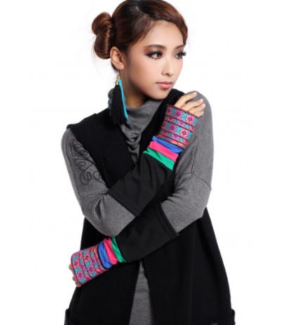 Longs gants mitaines Bijou de main brodés noir et multicolore Ethnique